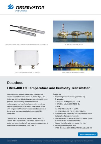 OMC-408 Ex Temperature and humidity Transmitter