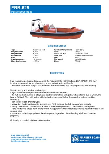 Fast rescue boat FRB-625