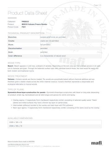 BEECH VULCANO FRESCO ROMBO Product Data Sheet