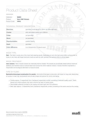 NERO OAK VULCANO Product Data Sheet