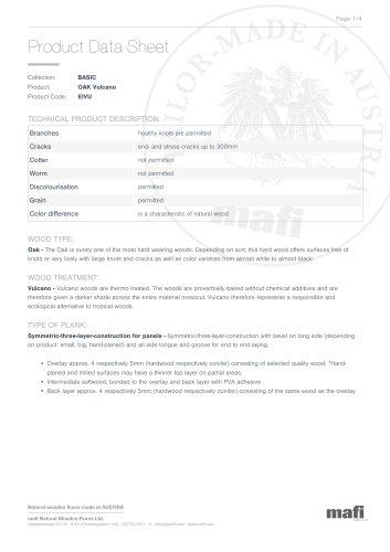 OAK VULCANO Product Data Sheet