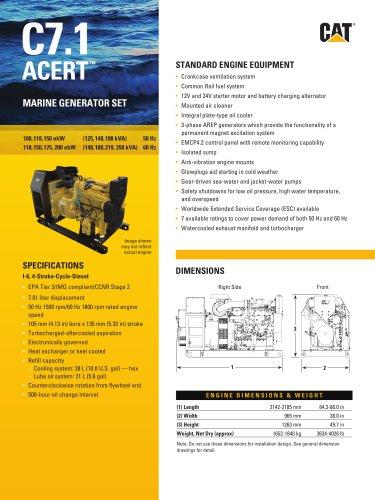 C7.1 Spec Sheet (100,118,150 ekW 50 Hz / 118,150,175,200 ekW 60 Hz)