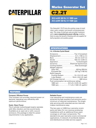 Cat C2-2T Genset Spec Sheet