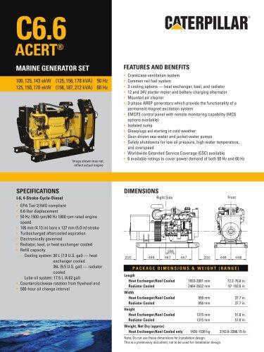 Cat C6.6 ACERT Genset Spec Sheet