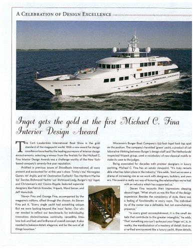 INGOT Receives Michael C Fina Design Award