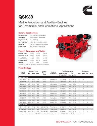 QSK38 Commercial Marine Spec Sheet