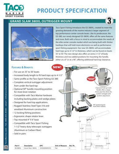 GS-380XL Grand Slam 380XL Outrigger Top Mount