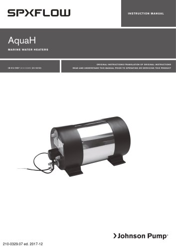 AquaH Marine Water Heater manual EN, DE, ES, FR, IT, SV