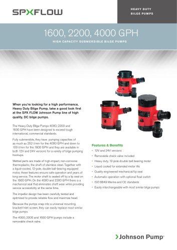 Heavy Duty Bilge Pumps - 1600, 2200 & 4000 GPH