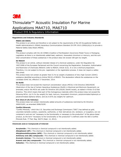 Thinsulate Acoustic Insulation For Marine Applications MA4710, MA6710