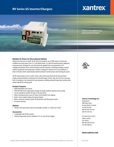 RV Series GS Inverter/Chargers