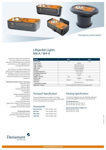 Technical Data Sheet for M4-A / W4-A Lifejacket Light