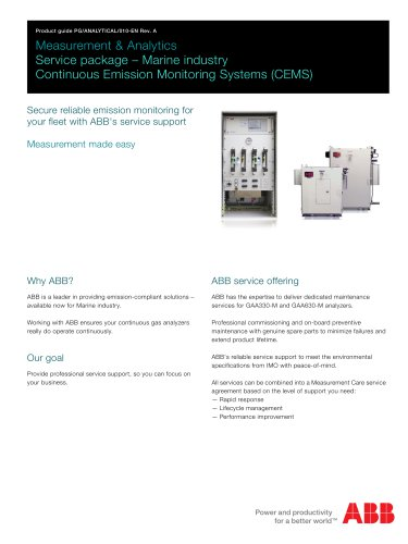 PDF Product guide - Measurement & Analytics | Service package – Marine industry | Continuous Emission Monitoring Systems (CEMS)