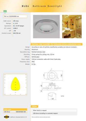 DL04 Bathroom Downlight, recessed, 4 W / 6 W