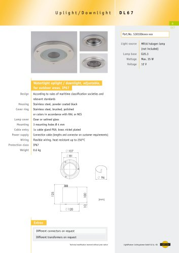 DL67 Watertight Uplight/ Downlight, max. 35 W