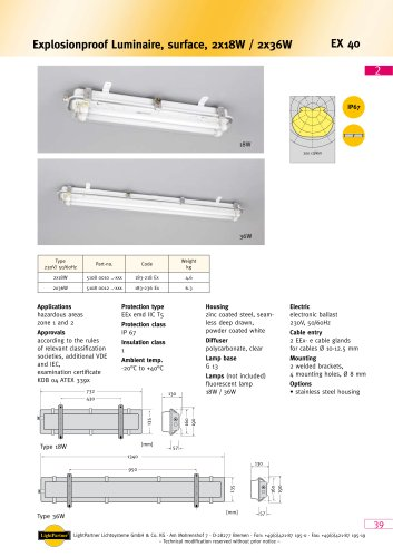 indoor ceiling-mounted luminaire for ships<br>(for hazardous area)