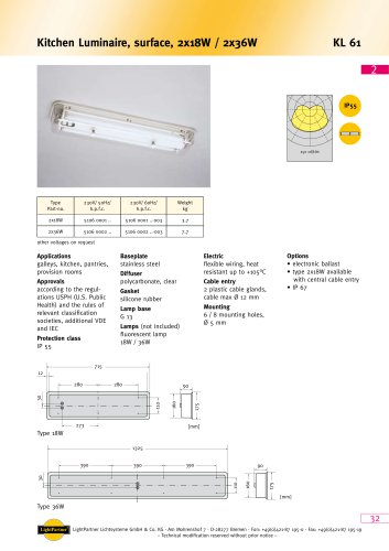 KL61 Kitchen Luminaire, surface, 2x 18 W / 2x 36 W