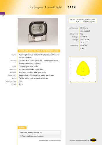 ST76 Floodlight for halogen lamps, max 1x 200 W