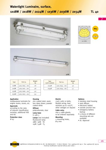 TL40 - Watertight Luminaire, surface  1x 18 W / 2x 18 W / 2x 24 W / 1x 36 W / 2x 36 W / 2x 54 W