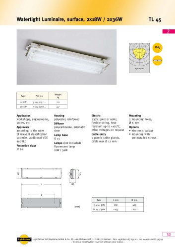 TL45 Watertight Luminaire, surface, 2x 18 W / 2x 36 W