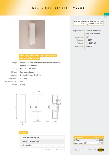 WL282 Wall light with switch, 1x 11 W