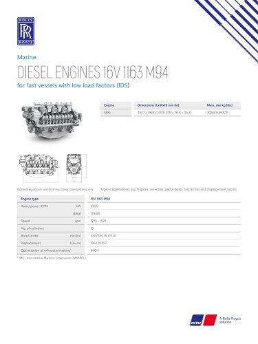 DIESEL ENGINES 16V 1163 M94 for fast vessels with low load factors (1DS)