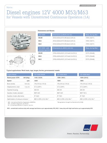 MTU Diesel engines 12V 4000 M53/M63 for Vessels with Unrestricted Continuous Operation (1A)