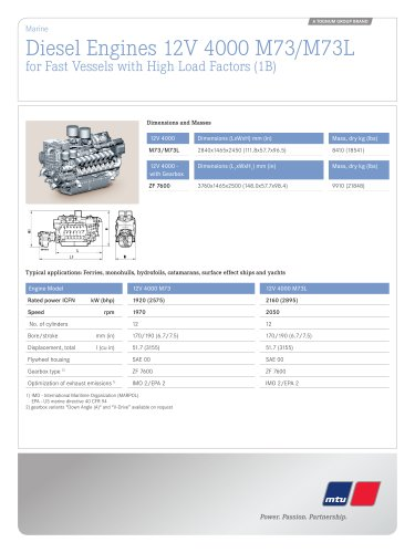 MTU Diesel Engines 12V 4000 M73/M73L for Fast Vessels with High Load Factors (1B)