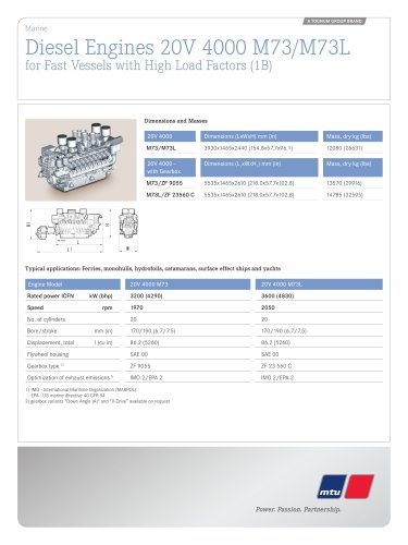 MTU Diesel Engines 20V 4000 M73/M73L for Fast Vessels with High Load Factors (1B)