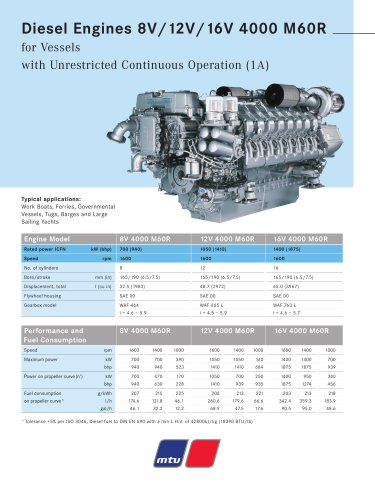 MTU Diesel Engines 8V/12V/16V 4000 M60R for Vessels with Unrestricted Continuous Operation (1A)