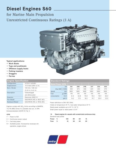 MTU Diesel Engines S60 for Marine Main Propulsion Unrestricted Continuous Ratings (1 A)