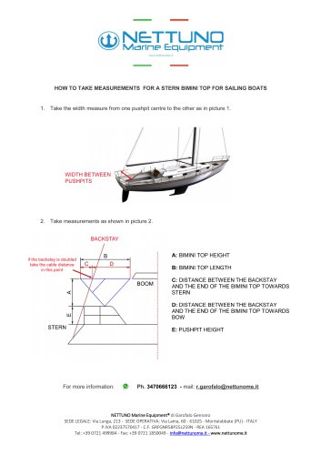HOW TO TAKE MEASUREMENTS FOR A STERN BIMINI TOP FOR SAILING BOATS