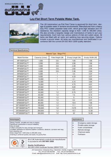 LAY-FLAT SHORT TERM POTABLE WATER TANK