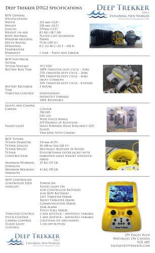 Deep Trekker DTG2 Specifications