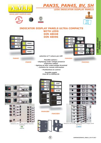 PAN35, PAN45, BV, SH LEDS INDICATOR DISPLAY PANELS