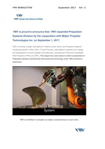 YMV Crane and Winch Systems Newsletter 3-2017