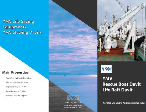 YMV Rescue Boat Davit Life Raft Davit Catalogue