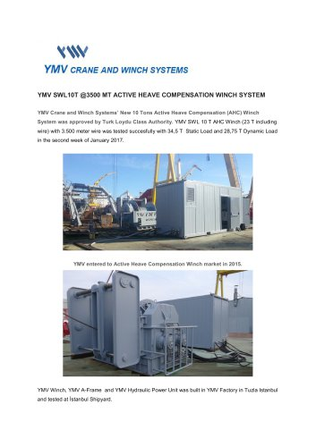 YMV Winch and Crane Systems Newsletter 1-2017